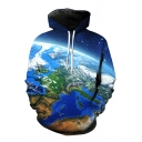 Cool Earth Print Long Sleeve Loose Hoodie