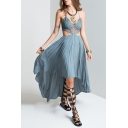 Bohemian Style Sexy V-Neck Hollow Out High Low Hem Dress