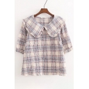 Classic Plaid Print Short Sleeve Peter Pan Collar Blouse