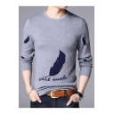 Winter Collection Round Neck Long Sleeves Leaf Feather Letter Pattern Pullover Sweater