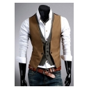 Gentlemanlike Color Block Sharp Cutting Button Down Layered Tiered Vest