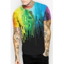 Digital Splash-Ink Pattern Short Sleeves Casual Leisure Round Neck Tee