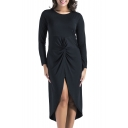 Simple Plain Round Neck Long Sleeves Twist-Front Split Back Tulip Hem Midi Asymmetrical Dress