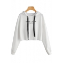 Fashion Simple Letter Print Long Sleeve Cropped Hoodie