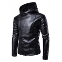 Simple Plain Long Sleeve Zip Up Side Hooded Faux Leather Jacket