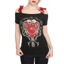 Fashion Skull Print Bow Tie Cold Shoulder Short Sleeve Tee