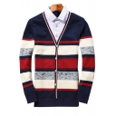 Winter Collection Color Block Striped Pattern V-Neck Long Sleeves Button Down Cardigan