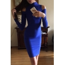 Sexy High Neck Long Sleeves Cold Shoulder Bodycon Pencil Mini Dress