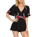 Fancy Floral Embroidered V-Neck Short Bell Sleeves Pleated Culotte Zip-Back Romper