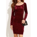 Elegant Boat Neck Draped Back Long Sleeves Slim-Fit Bodycon Mini Velvet Dress