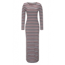 Elegant Color Block Striped Round Neck Long Sleeve Maxi Bodycon Dress