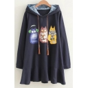 New Design Cartoon Cat Print Long Sleeves Drawstring Hooded Mini Dress