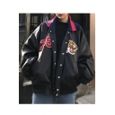Popular Tiger & Number Pattern Color Block Lapel Button Down Loose Biker Jacket