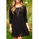New Trendy Round Neck Long Sleeve Lace Panel Hem Simple Plain Mini Dress