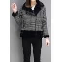 Simple Plaid Notch Lapel Long Sleeve Zip Up Jacket