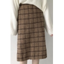 Chic Retro Plaid Split Side Pencil Midi Skirt