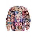 Japanese Style Ahegao Anime Pattern Long Sleeves Round Neck Pullover Sweatshirt