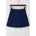 Simple Box Pleated Dropped Waist Plain Mini A-line Skirt with Pants Inside