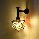 Industrial Pipe Wall Sconce with Star Shape Glass Shade in Black