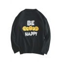 Simple Letter Smiley Faces Printed Long Sleeves Round Neck Pullover Sweater