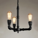 Rustic 3 Light Metal Pipe Entrance Chandelier in Black