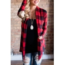 Popular Checkered Plaids Open Front Asymmetric Hem Long Sleeves Patched Elbows Coat