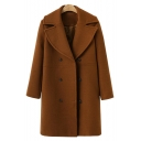 Simple Notched Lapel Long Sleeves Double Breasted Plain Longline Coat