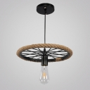 Industrial Pendant Light in Bare Bulb Style with Wheel, Black
