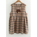 Cute Tartan Plaids Bear Embroidery Sleeveless Round Neck Mini Smock Dress