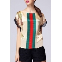 Ladylike Boat Neck Short Sleeves Striped Tassel Printed Pattern Blouse