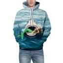 Horrifying Mermaid Shark Sea Pattern Long Sleeves Pullover Hoodie with Pocket