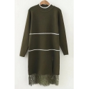 Lace Panel Striped Print Long Sleeve Round Neck Knitted Dress