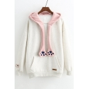 Fashion Contrast Hood Long Sleeve Hoodie with Pocket