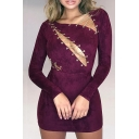 Sexy Plain Crisscross Hollow Out Skinny Long Sleeve Pencil Mini Dress