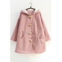 Simple Plain Toggle Long Sleeve Heart Shape Pocked Tunic Hooded Coat