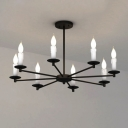 Industrial Vintage 30''W Chandelier in Black, 8 Light