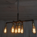 Induatrial Vintage 6 Light Chandelier in Pipe Style