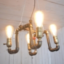 Industrial 4 Light Chandelier with Valve in Pipe Style, Bronze