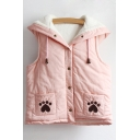 Lovely Paw Printed Button Down Sleeveless Fur Padded Winter Vest with Drawstring & Ears