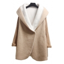Elegant Over-Sized Hooded Fur Padded Knitted Long Sleeves Single-Breasted Warp Front Winter Coat
