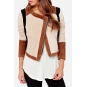 Fashion Color Block Print 3/4 Length Sleeve Zip Up Collarless Jacket