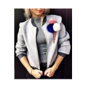 Chic Furry Pom Pom detail Zippered Baseball Jacket with Double Pockets