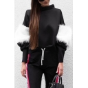 Stylish Faux Fur Patchwork Long Sleeves High Neck Pullover Casual Sweatshirt