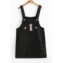 Adorable Rabbit Sweetheart Embroidery Mini Overall Dress with Pockets