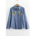 Ethic Bird Floral Embroidered Button Down Point Collar Long Sleeves Shirt