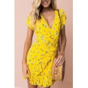 Summer Collection V-Neck Short Sleeves Allover Floral Pattern Wrap Bow Front Ruffle Hem Tulip Mini Dress