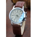 Fashionable Leather Strap Men's Quartz Watch