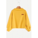 Simple Letter Pattern High Neck Long Blouson Sleeves Pullover Loose Sweatshirt