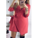 Fashion Simple Plain 3/4 Length Sleeve Wrap Tie Front Mini Dress