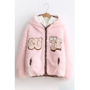Cute Cartoon Letter Pattern Long Sleeve Zippered Fluffy Hooded Coat